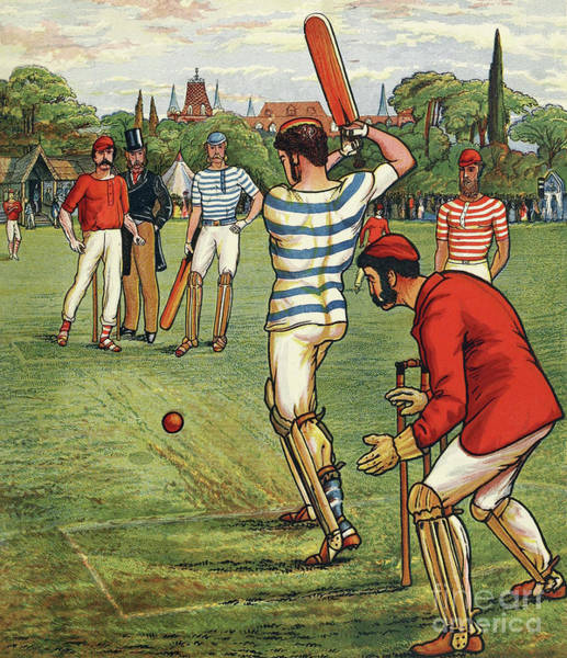 Wall Art - Painting - Cricket, From British Sports And Games, Published Circa 1880 by English School