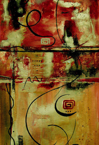 Irregular Painting - Crimson And Copper by Ruth Palmer