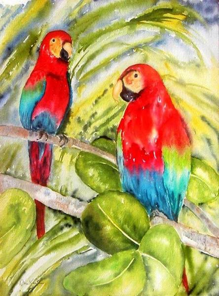 Painting - Crimson Macaws by Diane Kirk