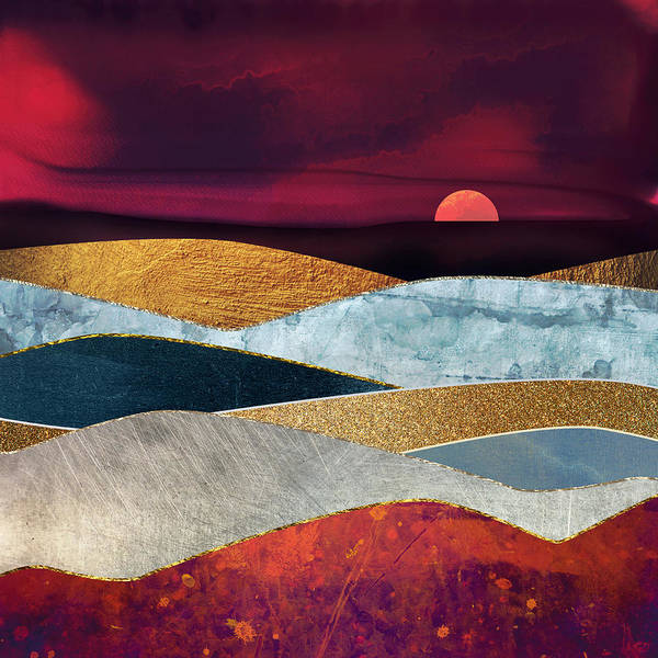Wall Art - Digital Art - Crimson Sky by Spacefrog Designs