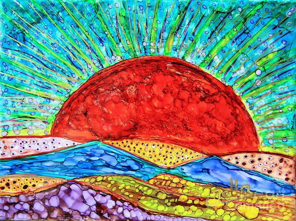 Painting - Crimson Sun.. by Jolanta Anna Karolska