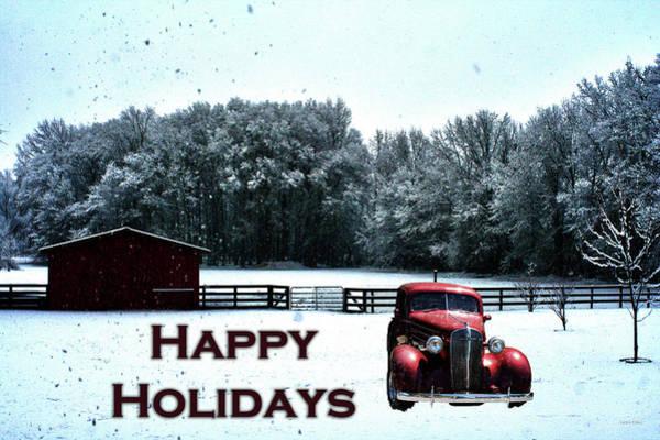 Photograph - Crimson Winter Xmas Card by Lesa Fine