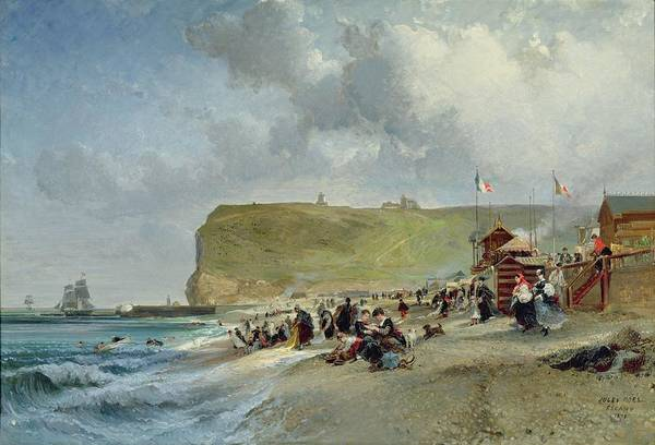 1871 Painting - Crinolines On The Beach At Fecamp by Jules Achille Noel