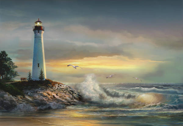Lake Superior Wall Art - Painting - Crisp Point Lighthouse At Sunset  by Regina Femrite
