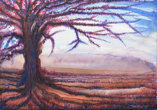 Criss Cross Tree Art Print by Tom Hefko