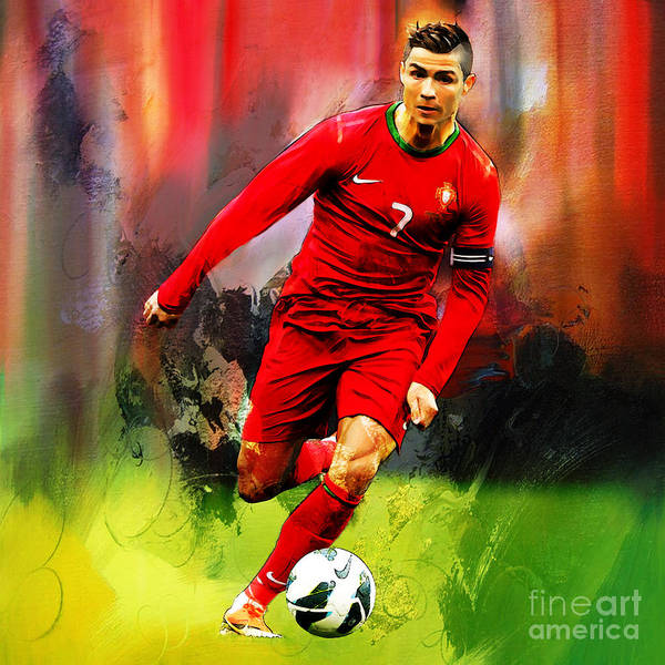 Wall Art - Painting - Cristiano Ronaldo 08a by Gull G