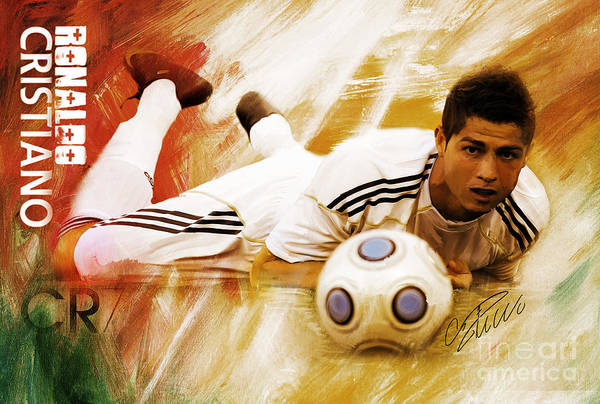 Wall Art - Painting - Cristiano Ronaldo 092f by Gull G