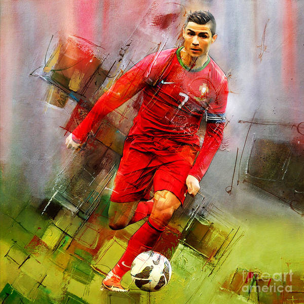 Wall Art - Painting - Cristiano Ronaldo  by Gull G