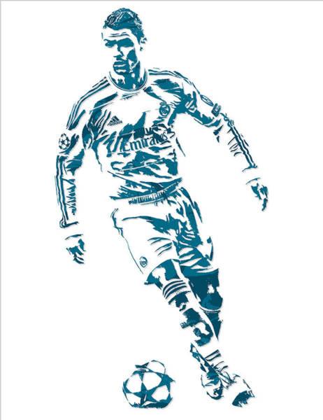 Uefa Wall Art - Mixed Media - Cristiano Ronaldo Real Madrid Pixel Art 1 by Joe Hamilton