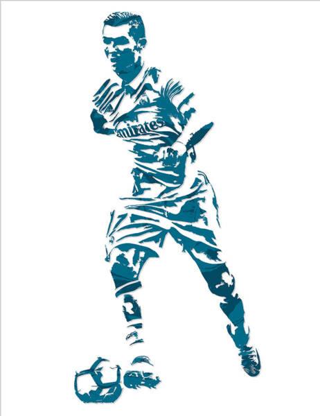 Cristiano Ronaldo Wall Art - Mixed Media - Cristiano Ronaldo Real Madrid Pixel Art 3 by Joe Hamilton