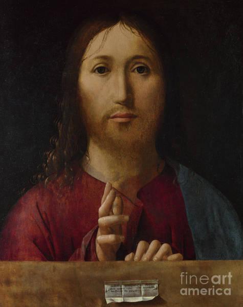 Wall Art - Painting - Cristo Salvator Mundi by Antonello da Messina