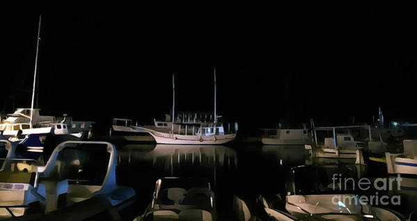 Painting - Croatian Port By Night by Odon Czintos