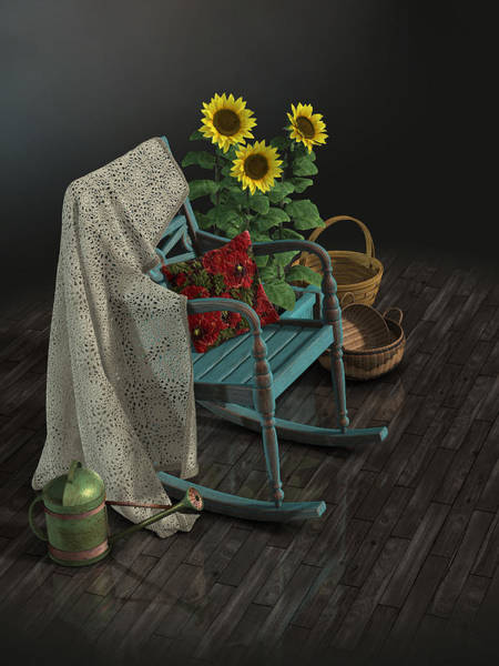Wicker Basket Digital Art - Crochet Blanket Over Rocking Chair With Watering Can And Sunflow by Fabiana Kofman