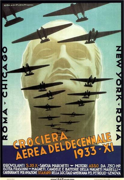 Statue Mixed Media - Crociera Aerea Deldecennale 1933 - Retro Travel Poster - Vintage Poster by Studio Grafiikka