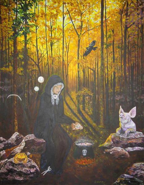 Painting - Crone Goddess Keridwen - Samhain by Shirley Wellstead