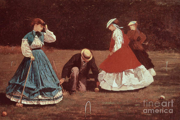 Homer Painting - Croquet Scene by Winslow Homer