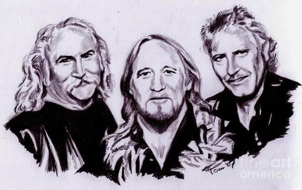 Drawing - Crosby Stills And Nash by Toon De Zwart