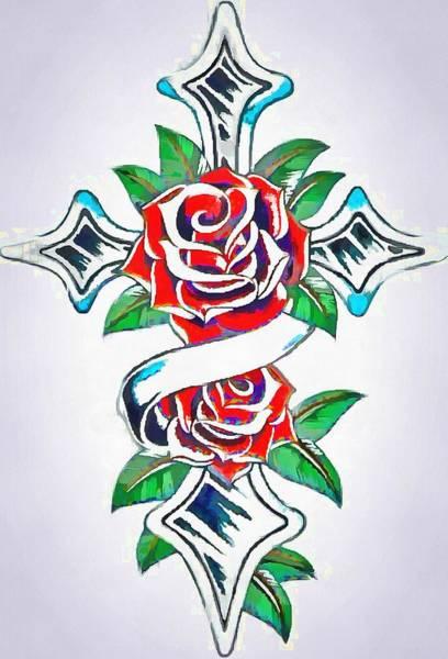 Digital Art - Cross And Roses Tattoo by Catherine Lott