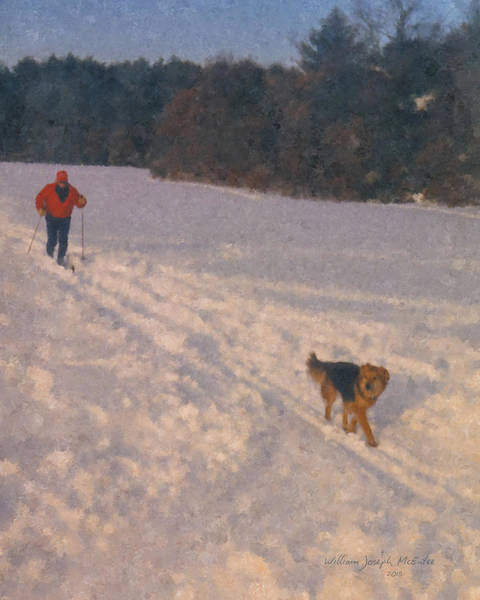 Painting - Cross Country Skier With Dog At Smith Farm, Borderland Park by Bill McEntee