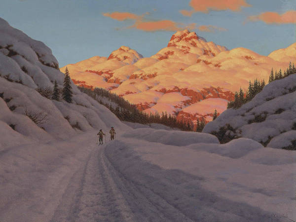 Painting - Cross Country Skiing By Ivan Fedorovich Choultse by Ivan Fedorovich Choultse