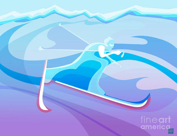 Skiing Painting - Cross County Skier Abstract by Sassan Filsoof