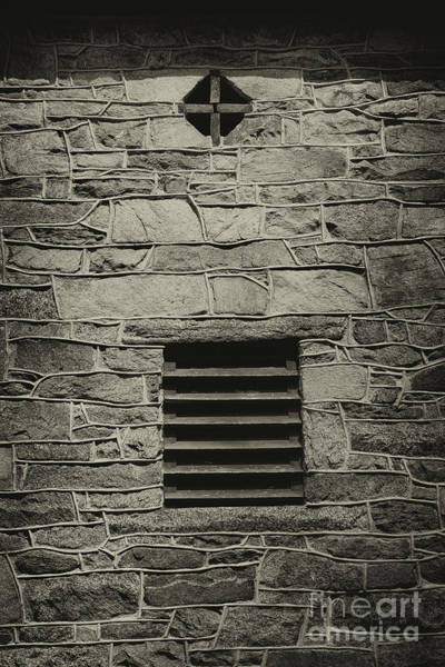 Photograph - Cross In A Wall Black And White by Karen Adams