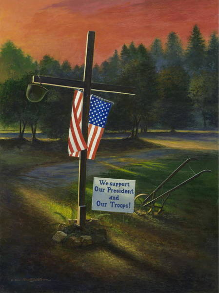 Plowing Painting - Cross Of Remembrance by Randy Welborn