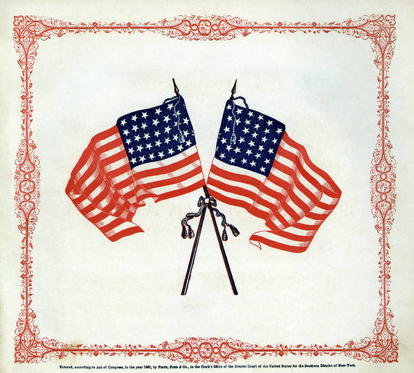 Us Civil War Digital Art - Crossed Civil War Union Flags 1861 by Daniel Hagerman