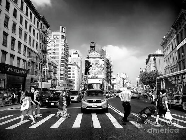 Photograph - Crossing Canal Street New York City by John Rizzuto