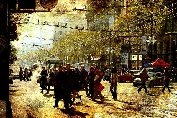 Photograph - Crossing Market Street . Texture by Wingsdomain Art and Photography