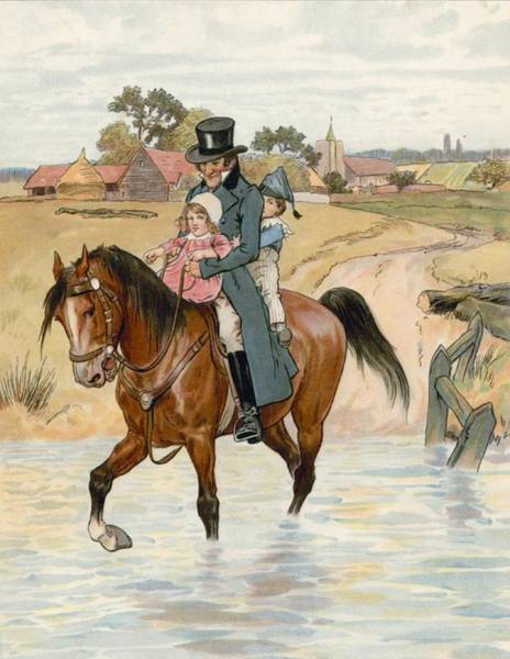 Equestrian Drawing - Crossing The Brook by English School