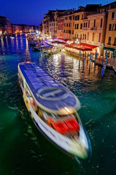 Photograph - Vaporetto Crossing The Grand Canal At Night In Venice, Italy by Fine Art Photography Prints By Eduardo Accorinti