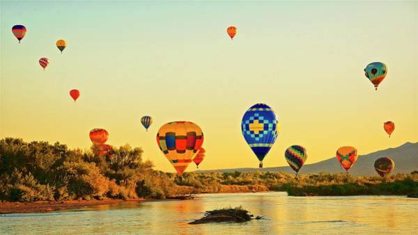 Photograph - Crossing The Rio Grande River, Hot-air Balloons by Flying Z Photography by Zayne Diamond