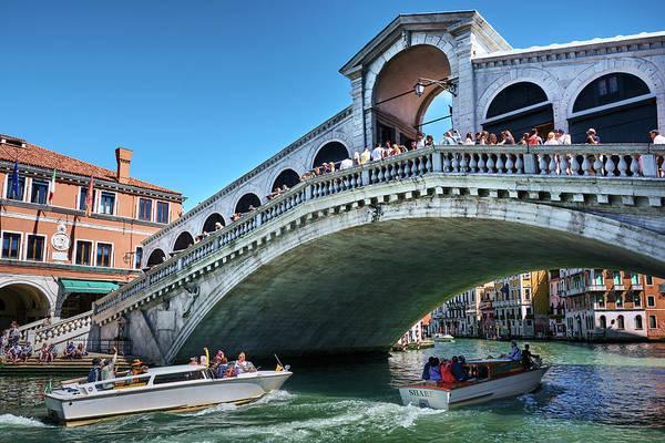 Photograph - Boats Crossing Under The Rialto Bridge In Venice, Italy by Fine Art Photography Prints By Eduardo Accorinti