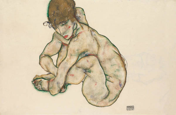Expressionism Drawing - Crouching Nude Girl by Egon Schiele