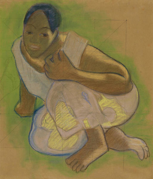 Drawing - Crouching Tahitian Woman by Paul Gauguin