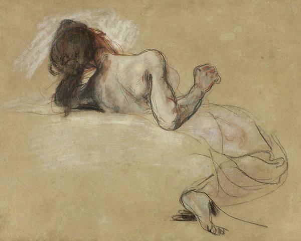 Nude Ladies Drawing - Crouching Woman by Ferdinand Victor Eugene Delacroix