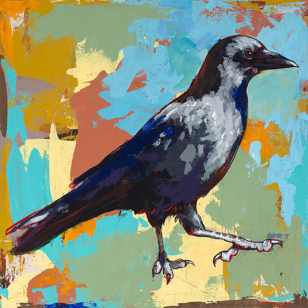 Bird Wall Art - Painting - Crow #2 by David Palmer