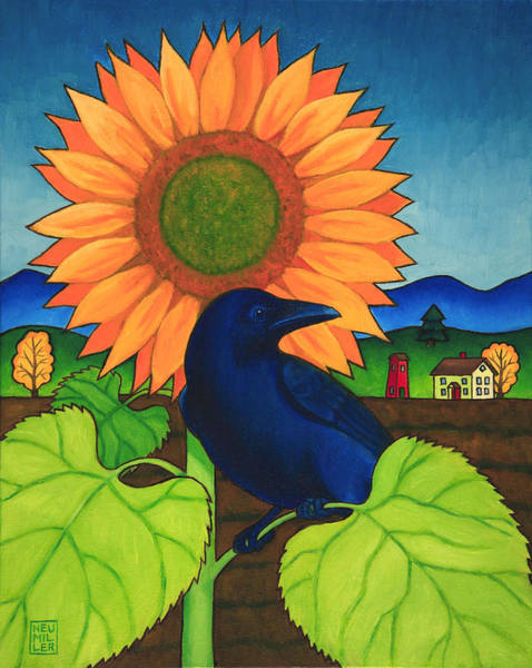 Wall Art - Painting - Crow In The Garden by Stacey Neumiller