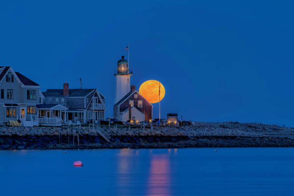 Photograph - Crow Moon Over Old Scituate Light by Thomas Gaitley