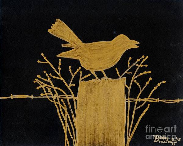 Fencepost Painting - Crow On Fencepost by Becky  Brown