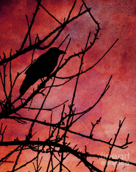 Twig Mixed Media - Crow Silhouette by Callan Art