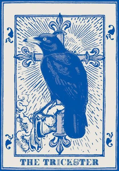 Deck Digital Art - Crow Tarot The Trickster  by Sandra McGinley
