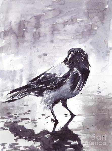 Dreamy Wall Art - Painting - Crow Watercolor by Suzann's Art