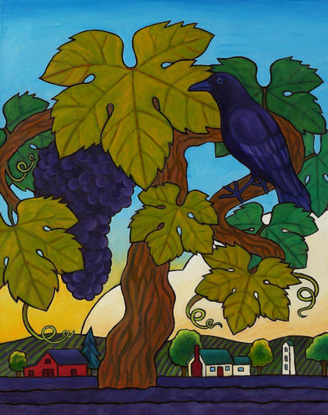 Wall Art - Painting - Crow With Wine On The Vine by Stacey Neumiller