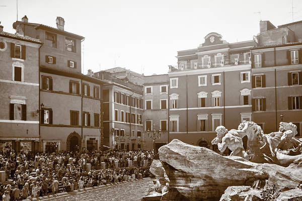 Photograph - Crowd At The Trevi Fountain In Rome by Fine Art Photography Prints By Eduardo Accorinti