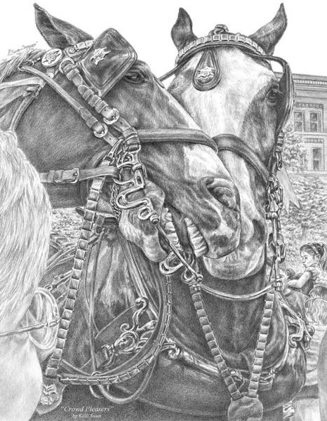 Drawing - Crowd Pleasers - Clydesdale Draft Horse Art Print by Kelli Swan