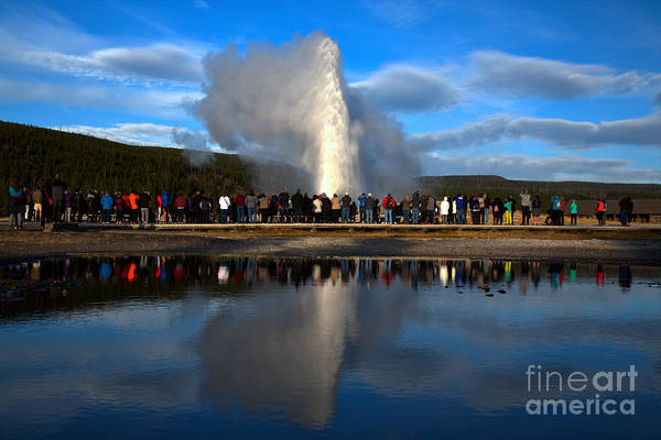 Yellowstone Caldera Photograph - Crowd Reflections At Old Faithful Landscape by Adam Jewell