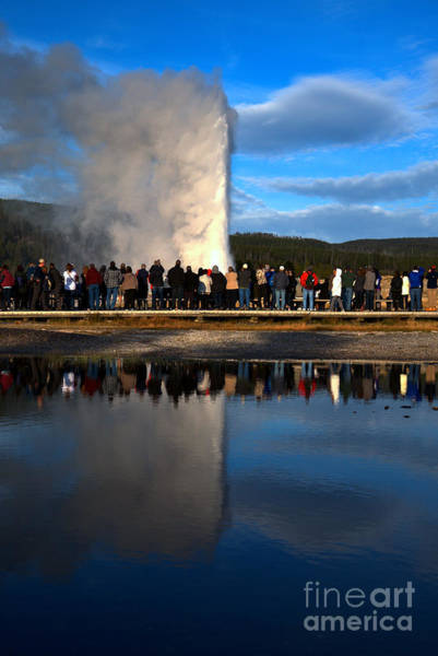 Yellowstone Caldera Photograph - Crowd Reflections At Old Faithful Portrait by Adam Jewell