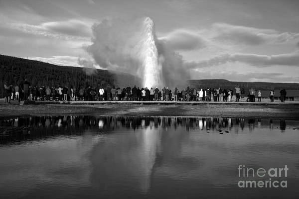 Photograph - Crowd Reflections At Old Faithful Portrait Black And White by Adam Jewell